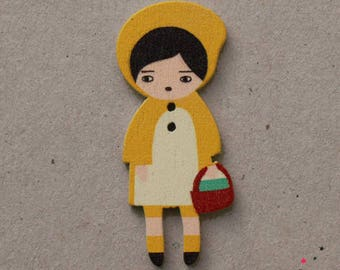 Riding 4.5 cm yellow wooden button