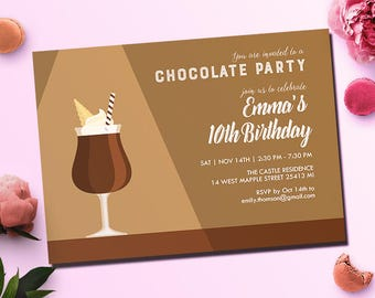 Hot Chocolate Party Invitation, Cocoa Party, Adult Birthday Invitation, Printable Digital File