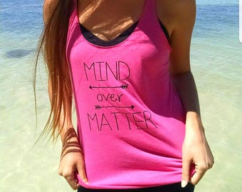 Mind over Matter pink racerback tank top