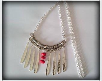 Bib unique beads spun torch red tones