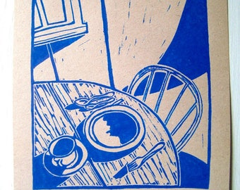 MORNING WITHOUT HIM Print - 4.5x5. Blue. Linoleum Prints Block Cuts Hand Printed Hand Carved Linocut Sea Print Block Prints Handmade Gifts