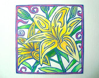 LILIES Print - 1.75X3. Blue. Linoleum Prints Kitchen Art Hand Colored Hand Printed Linocut Flower Print Block Prints Handmade Gifts