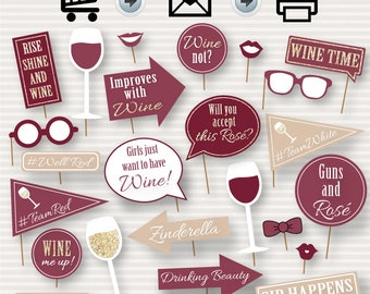 Wine Party Photo Booth Printable Props - Party Printable Photo Booth - Wine Time - Wine Inspired Photo Booth Prop, Instant Download - DIY