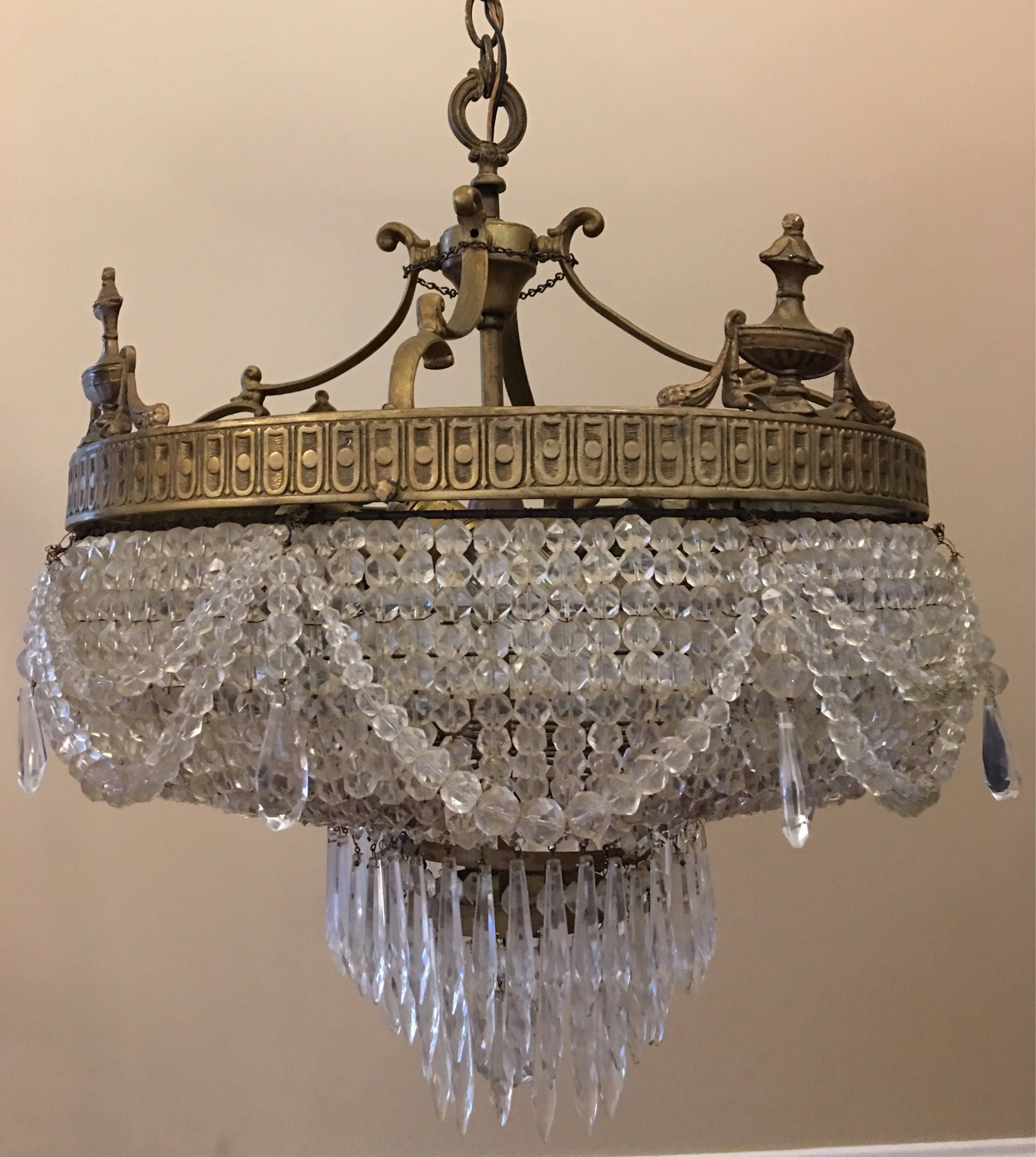 Antique Beaded French Empire Basket Wedding Cake Tier Crystal