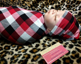 Buffalo Plaid Swaddle Blanket Set, Boys Swaddle Set, Red Black White Buffalo Plaid Baby Beanie and Swaddle Blanket, Baby Shower Gift