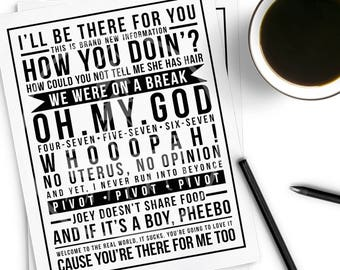 Friends TV show quotes modern print