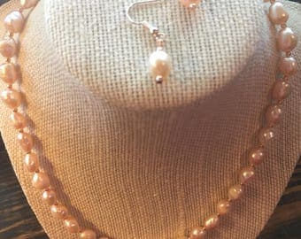 Natural Pink Freshwater Pearl Cultured Necklace Set