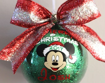 Mickey Mouse Ornament Merry Christmas Ornament with Name & Year Acrylic(hard plastic will not break) or Glass made with Vinyl decals