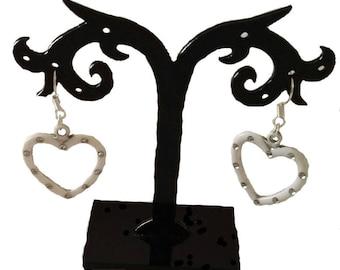 loop white acrylic heart earrings