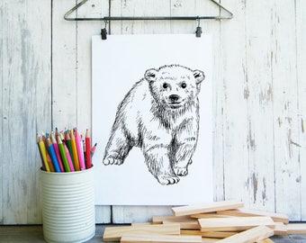 Baby Bear Printable, Cute Bear Poster, Woodland Animals, Kids Wall Art, Nursery Decor, Cute Animals, Woodland Nursery, Gift For Kids