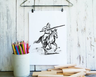 Knight clipart, Fantasy art, Kids room decor, Knight printable, Coloring pages, Digital print, Gift for kids