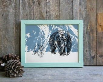 Bears print, Nature Printable Art, Mama Bear, Woodland Animals, Wild Life Wall Decor, Nature Art Print, Art & collectibles, Cabin Decor