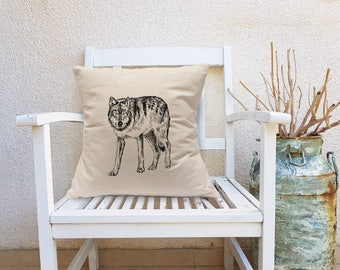 Decorative Pillow, Wolf Square Pillow, Man Cave Decor, Wolf Throw Pillow, Natural Canvas Pillow, Square Cushion, Cabin Decor, Cotton Pillow