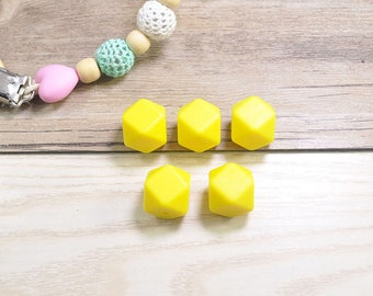 10pcs-17mm Yellow Hexagon Silicone Beads,DIY Teething Necklace,Wholesale Teething Beads,Food Grade Beads,BPA Free Beads,Silicone Loose Beads