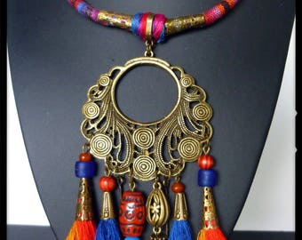 "Ethnic ""NIORO"" cotton woven, bronze filigree, tassels, glass beads pendant style necklace"
