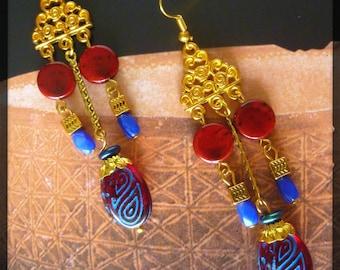 "Bohemian earrings ""URUK"" gold tone filigree, red Czech glass."