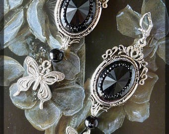 """""""Victorian earrings"""" Jet """", black beads, Jet, setting and Butterfly style cabochon retro silver metal filigree"""