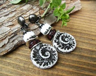 Long Black and White Earrings, Czech Glass Shell Earrings, Bohemian Nautilus Spiral Gunmetal Earrings, Unique Nature Inspired Jewelry, Gift