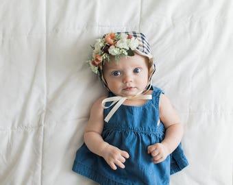 Flower Crown Bonnet, Floral Bonnet, Baby Bonnet, Baby Flower Bonnet, Baby Photo Prop, Sitter Bonnet, Easter Bonnet,