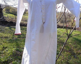 Antique Folk Costume Hand-Woven Robe Cotton Dress 100% Authentic.