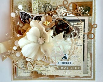 Beautiful Handmade Shabby Chic Tan Encouragement Greeting Card #Wc2017-2