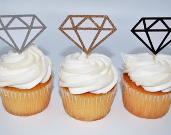 Wedding Cupcake Topper, Diamond Cupcake Topper, Wedding Decor, Diamond Accent, Diamond Food Pick, Bachelorette Party, Engagement Party,