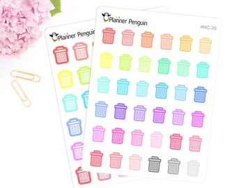 Trash Can Multi color Icon Planner stickers For Erin Condren Life Planner or Happy Planner // #MC-3