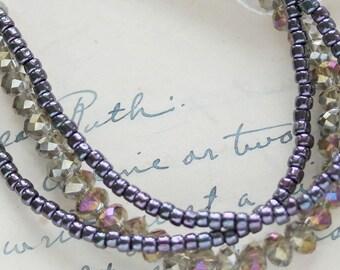 Beaded Purple Bracelet - Multi Strand Bracelet - Beaded Bracelet For Wife - Best Friend Gift Idea - Bracelet Thank You Gift - Date Night
