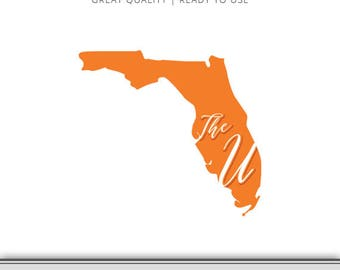 Miami Florida - State Outline - The U Graphic - Florida Hurricanes SVG - Florida Silhouette - Miami SVG - Digital Download - Ready to Use!