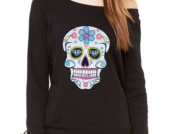Sugar Skull White Print Dia De Los Muertos Slouchy Off Shoulder Oversized Sweatshirt