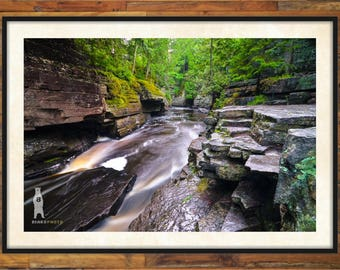 Nature Photo Art, Nature Photography Water, Upper Peninsula Michigan, Upper Peninsula Art, Metal Prints, Canyon Falls, Canyon Gorge , L'Anse