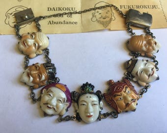 Toshikane Arita Porcelain Seven Fortune Gods Sterling Silver Made in Occupied Japan Link Bracelet 1225