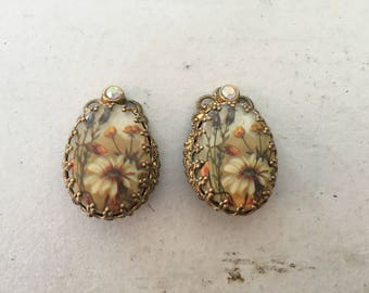 Signed West Germany Floral and AB Rhinestone Earrings 1293