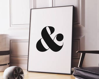 Ampersand Printable Art – Typography Wall Art Ampersand Poster, Inspirational Home Decor Digital Print *Instant download PDF & JPG*