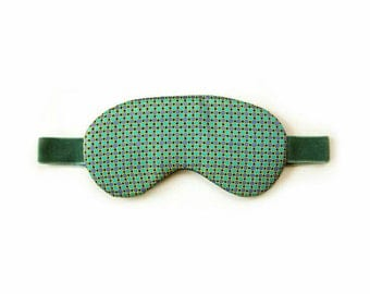MINT dotted Sleeping Mask / christmas gift idea for her / nightwear / silk mask / blindfold / eye wear
