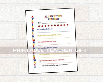PRINTABLE Teacher Gift, World Teacher Day Printable Gift, Teacher Appreciation Gift, All About Teacher, Teacher Questionnaire, Teacher Gift
