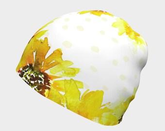 Slouchy beanie women - Hats for girls, Sun Flower Hat, Sunflower gift, kids cancer hats, hospital beanie, slouchy kids beanie, girl beanie