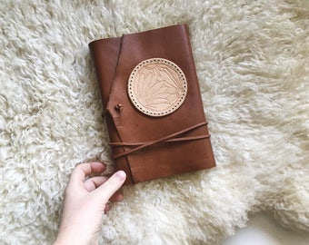 Large Leather Journal with Tooled Daisy Emblem | Blank Pages | Gift for Her | Diary | Sketchbook | Leather Notebook | Guest Book