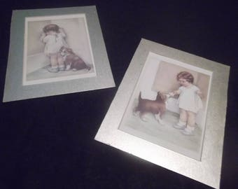 "Set of 2 Bessie Pease Gutmann Collectible Lithograph Prints~""The REWARD"" and ""IN DISGRACE"""