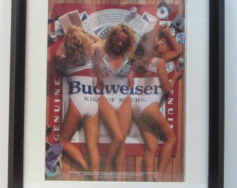 Vintage Magazine Matted Framed Print : March 1988 - Budweiser Beer Sexy Girls Swimsuit Wall Art Decor