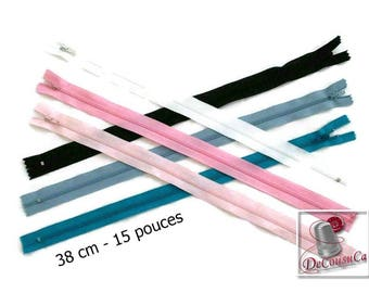 50%, (1.30 reg), 38cm, zipper, #3, 15 inchs, varied color, varied size, nylon, perfect for wallets, clothing, repair, creation,