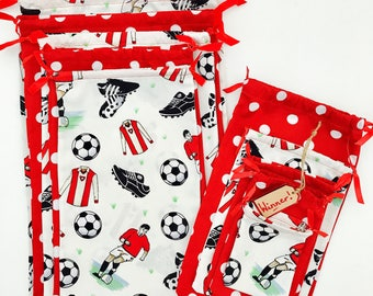 Handmade Bespoke Reds Football Team Reusable Fabric Drawstring Pass the Parcel Bags X 10