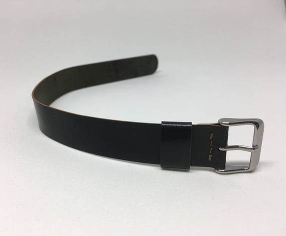 18mm Black Horween Shell Cordovan 1 piece strap