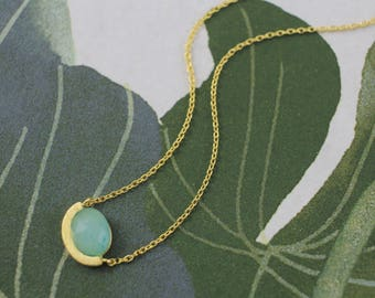 Dainty Necklace,Mint Stone Charm Necklace, Oval Mint Stone Gold Necklace, Bridesmaid Gift, Layered Necklace,7044