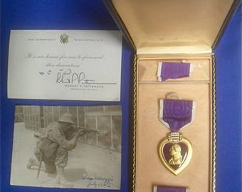 Original WWII US Army Purple Heart Medal with Photo & Card