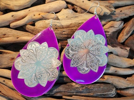 Purple Gypsy Mandala Earrings Blue Glass Teardrop Boho Ear Ring Rings Earings Hippie Goddess Bohemian Money Tarot Fortune Teller Telling