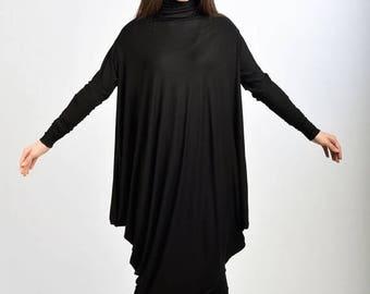 SALE Black Long Dress/ Extravagant Oversized Dress/ Long Sleeved Tunic/ Black Maxi Dress/ Tunic Top by Fraktura D0023