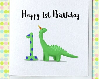 First/1st Happy Birthday Card - Adorable Dinosaur - Customized / Personalised Option