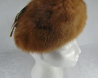 Vintage Light Brown Mink Fur Hat with Bow - 1950's