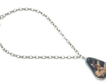 Butterfly Wing on a  7.5 Inch Sterling Silver Bracelet